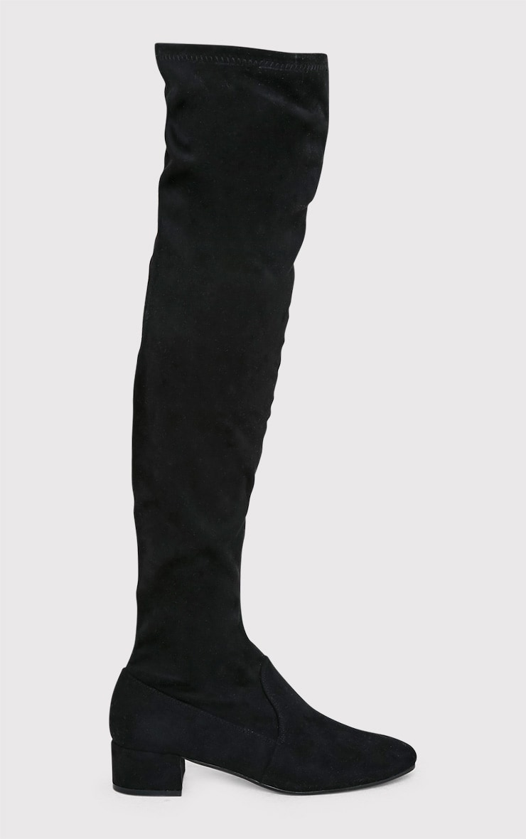 Esmay Black Faux Suede Thigh High Boots 2
