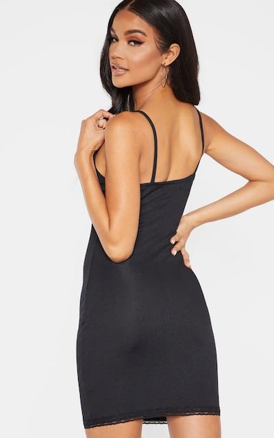 Black Lace Trim Rib Bodycon Dress