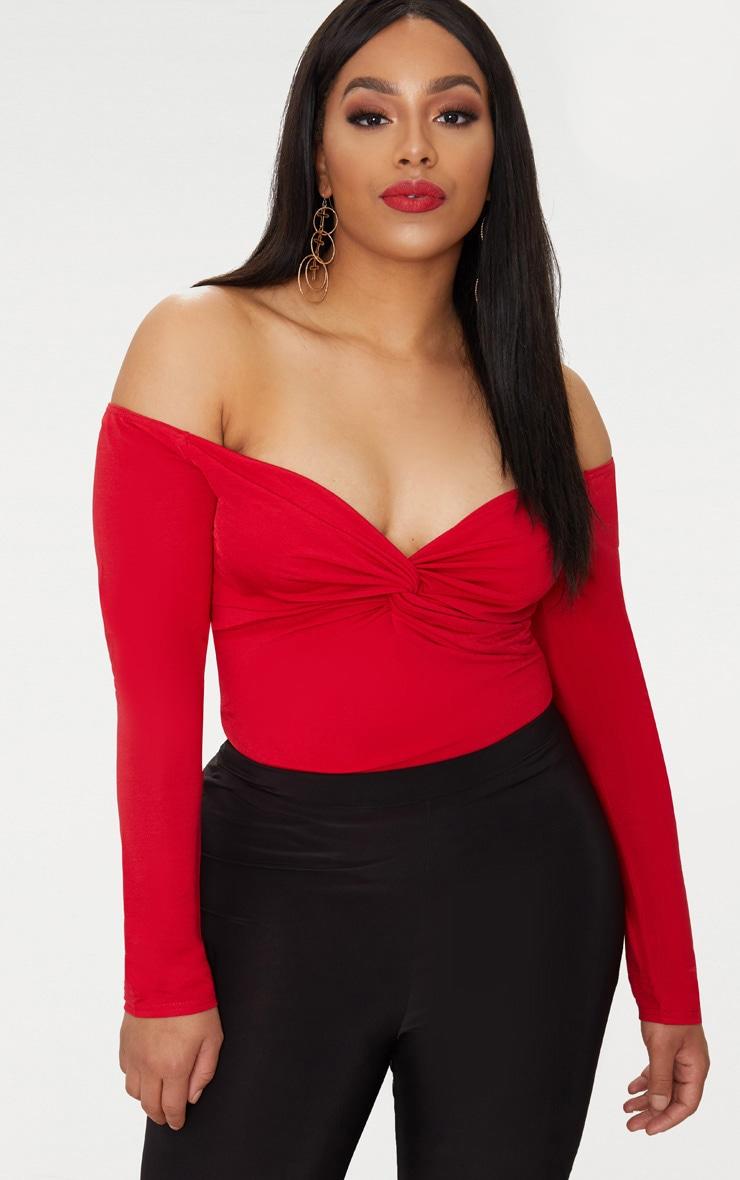 Plus Red Slinky Twist Front Bardot Bodysuit 1