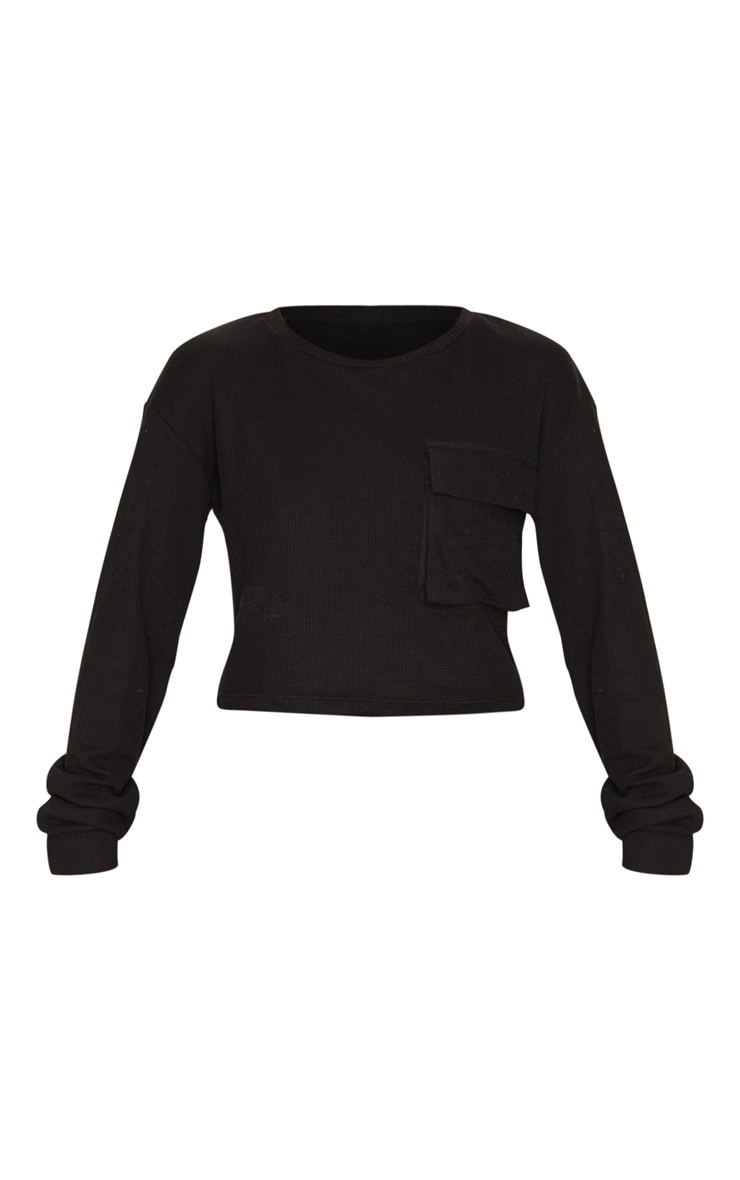Black Long Sleeve Pocket Detail Waffle Knit Crop Top 3
