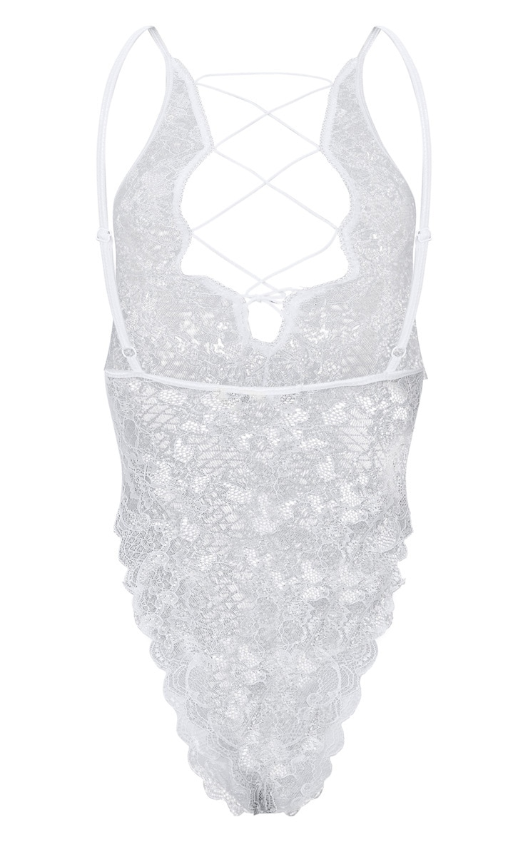 White Extreme High Leg Lace Up Front Body 4