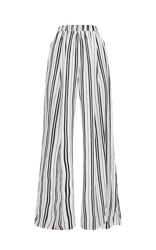 White Formal Stripe Wide Leg Trouser  3