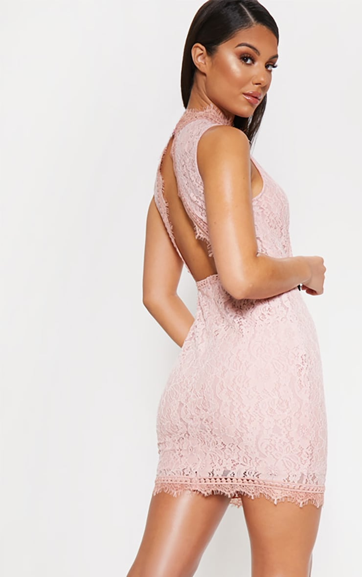 Dusty Pink Lace Open Back Bodycon Dress 4