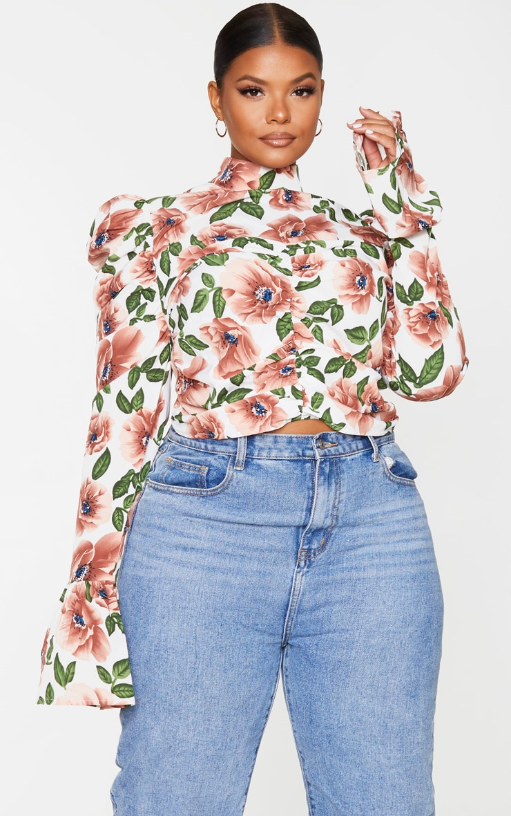 Plus Nude Floral Ruched High Neck Blouse 1