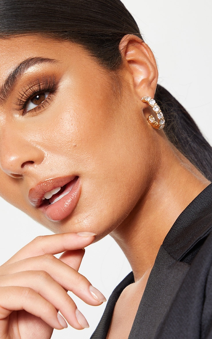 Gold Chunky Crystal Small Hoop Earrings 2