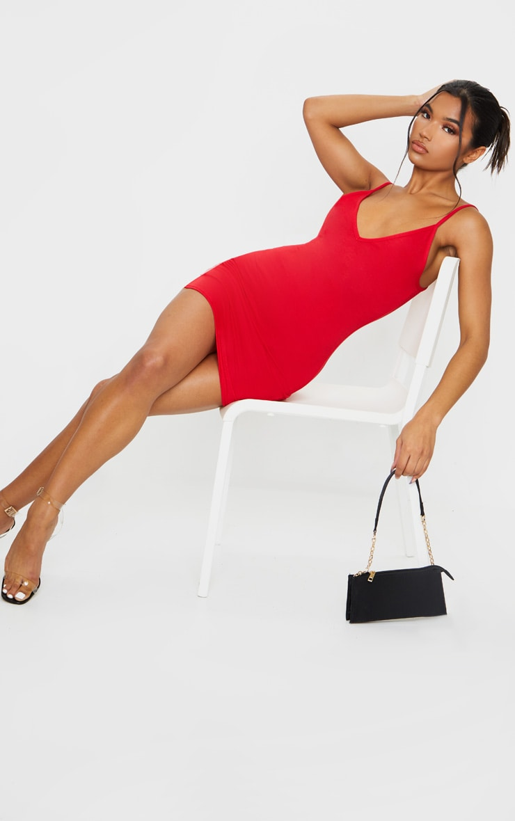 Basic Red Extreme Plunge Strappy Bodycon Dress 1