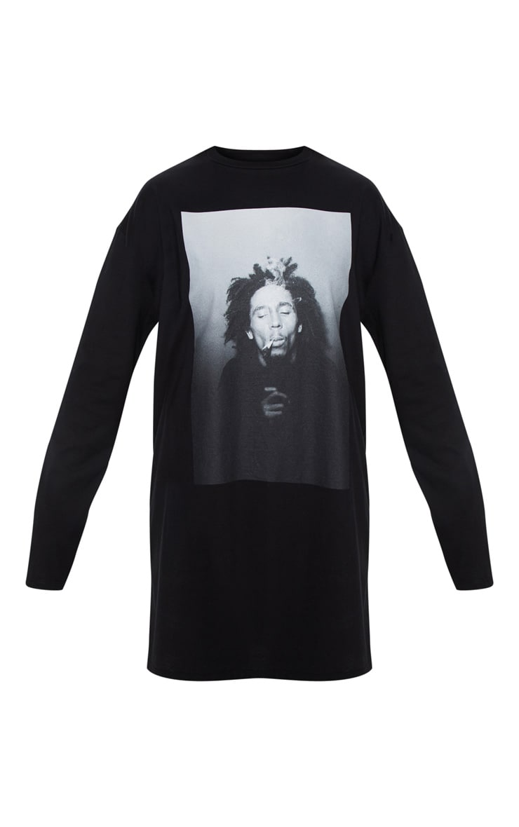 Bob Marley Slogan Black Oversized Long Sleeve T Shirt Dress 3