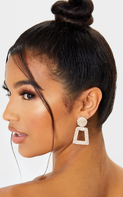 Gold All Over Diamante Door Knocker Earring