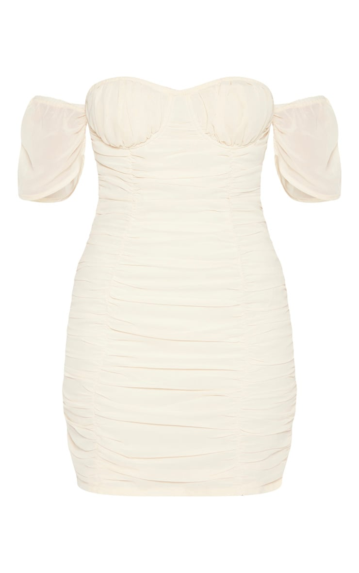 Stone Chiffon Ruched Cup Detail Bodycon Dress  3