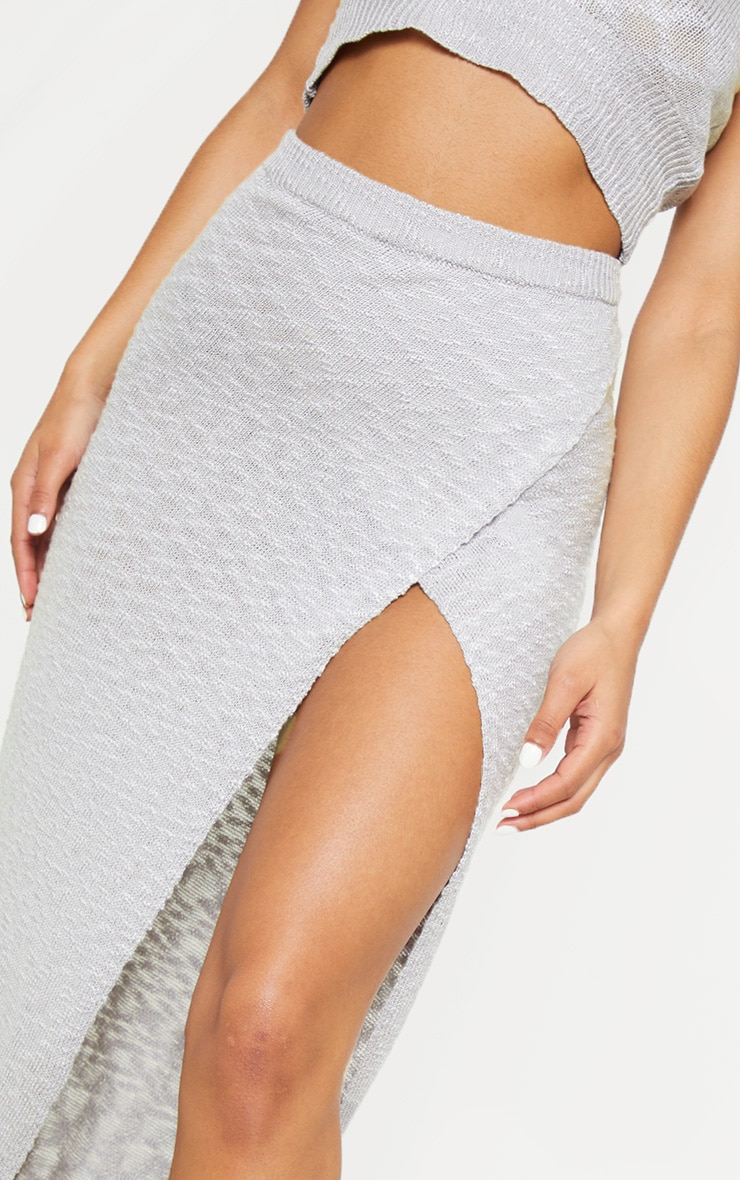 Grey Split Front Knitted Maxi Skirt 5