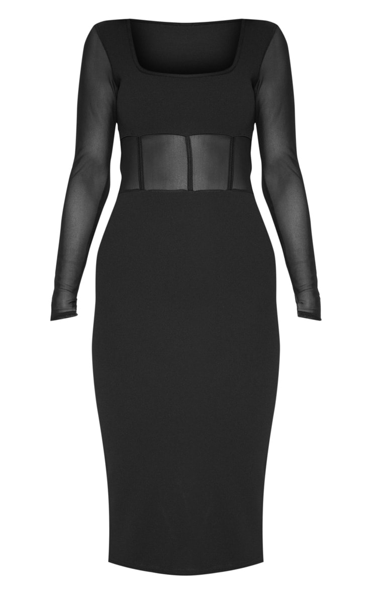 Black Mesh Panel Long Sleeve Midi Dress 4