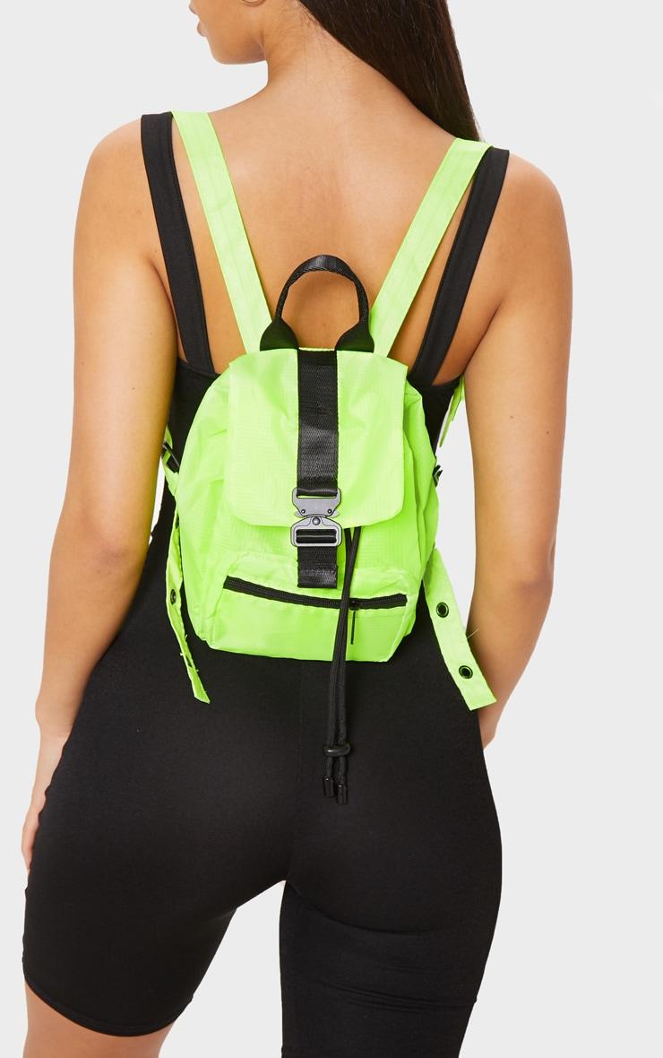 Neon Yellow Sporty Nylon Rucksack 1