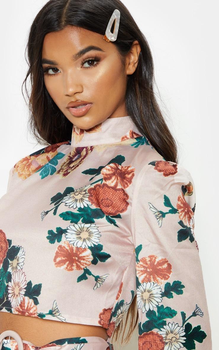 Multi Floral Printed High Neck Long Sleeve Crop Top 4