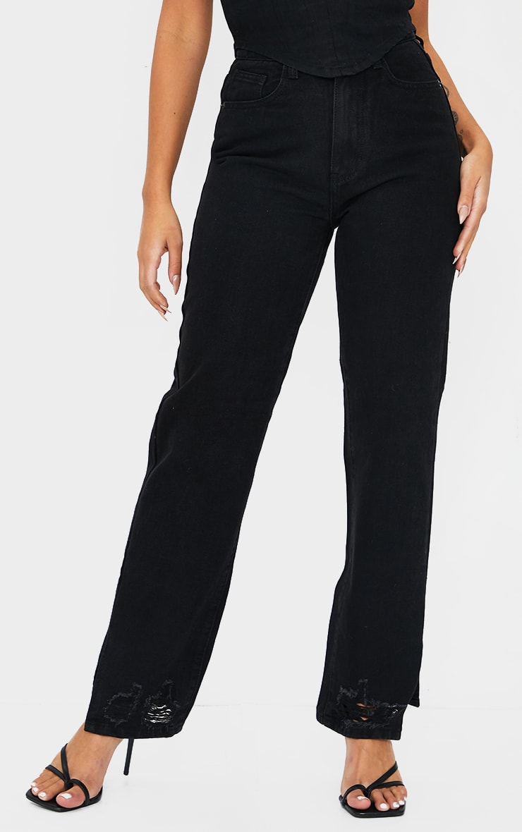 Petite Black Wash Ripped Split Hem Straight Leg Jeans 2