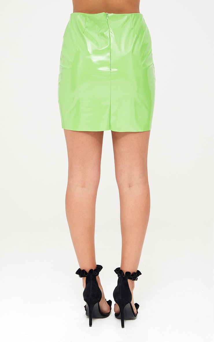 Lime Green Oversized Ruffle Vinyl Mini Skirt 4