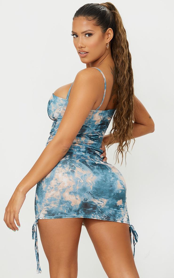 Shape Teal Tie Dye Slinky Ruched Side Detail Bodycon Dress 2