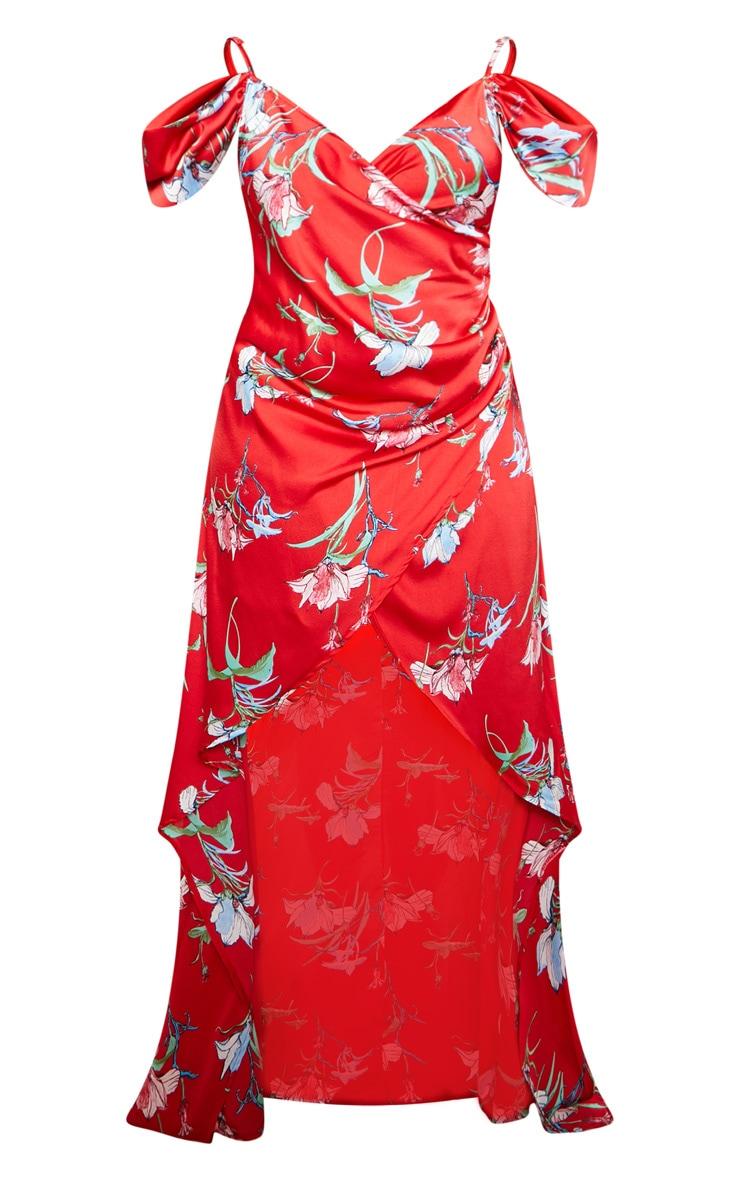 Red Floral Print Drape Detail Maxi Dress 4