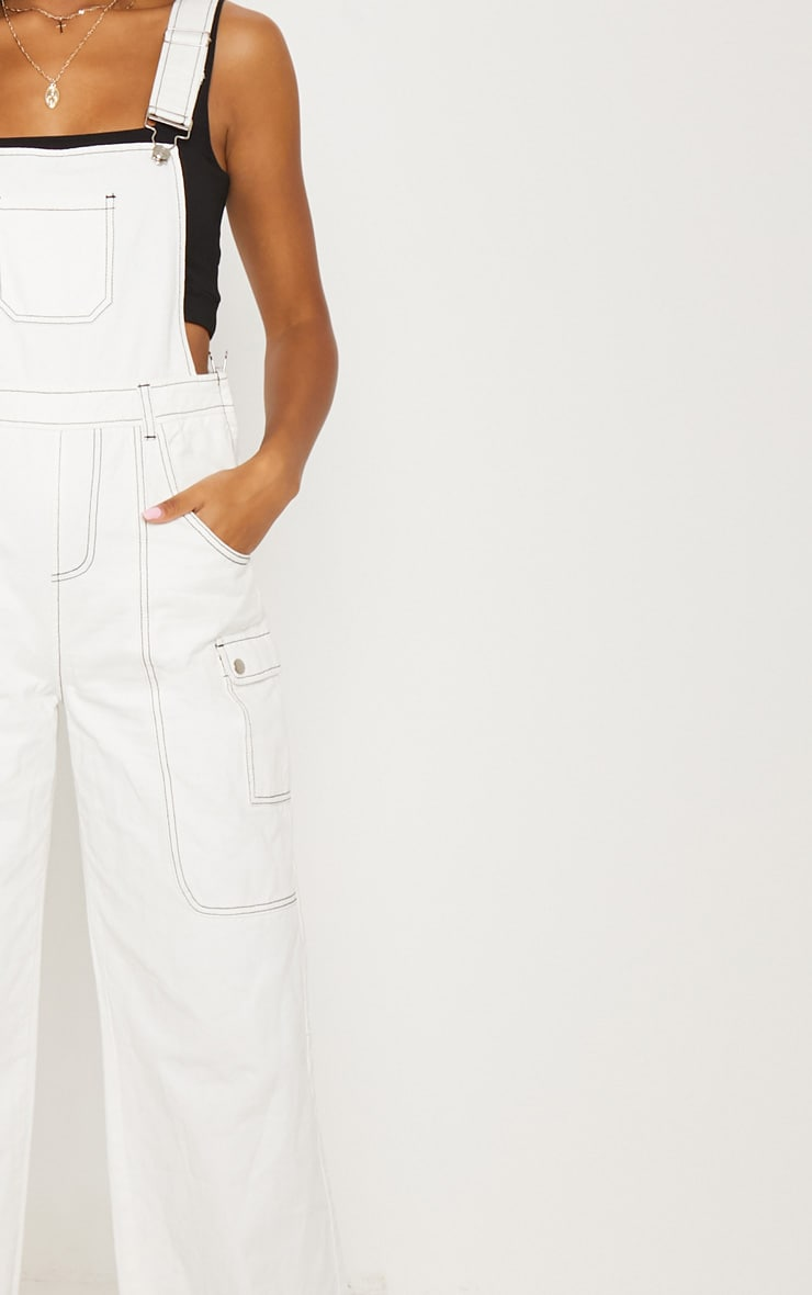 White Denim Wide Leg Dungarees 6