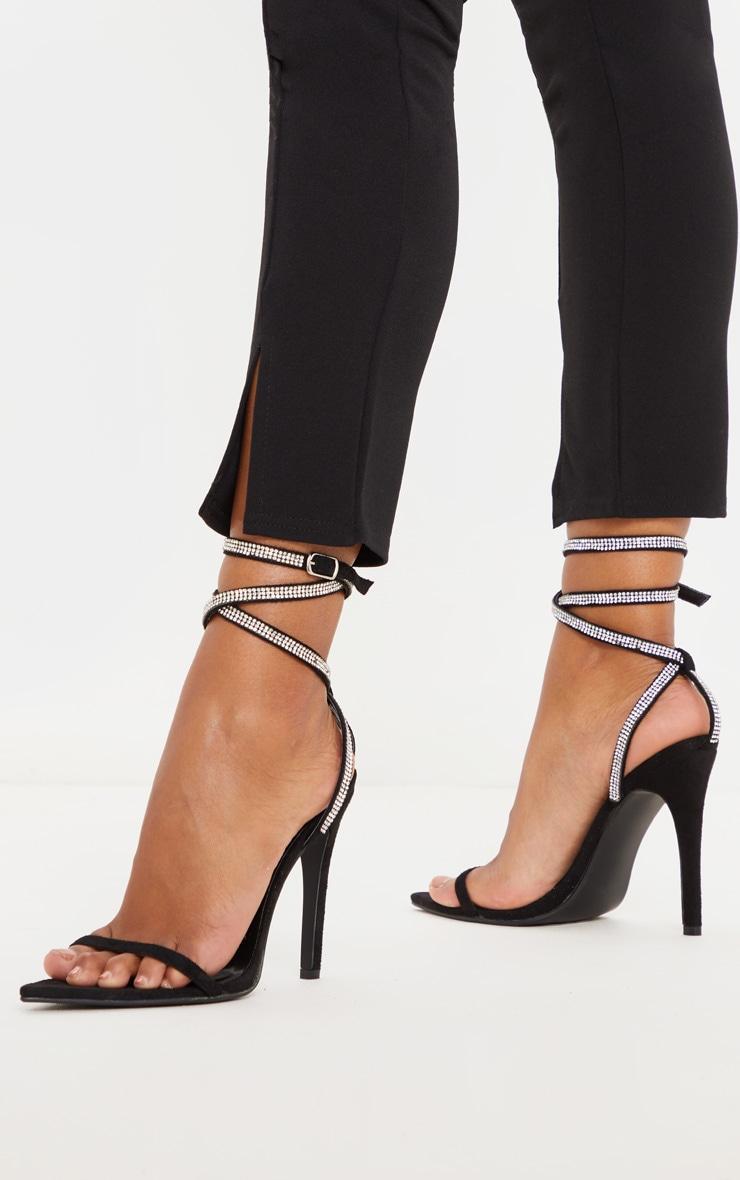 Black Point Toe Diamante Ankle Strap Sandal 2