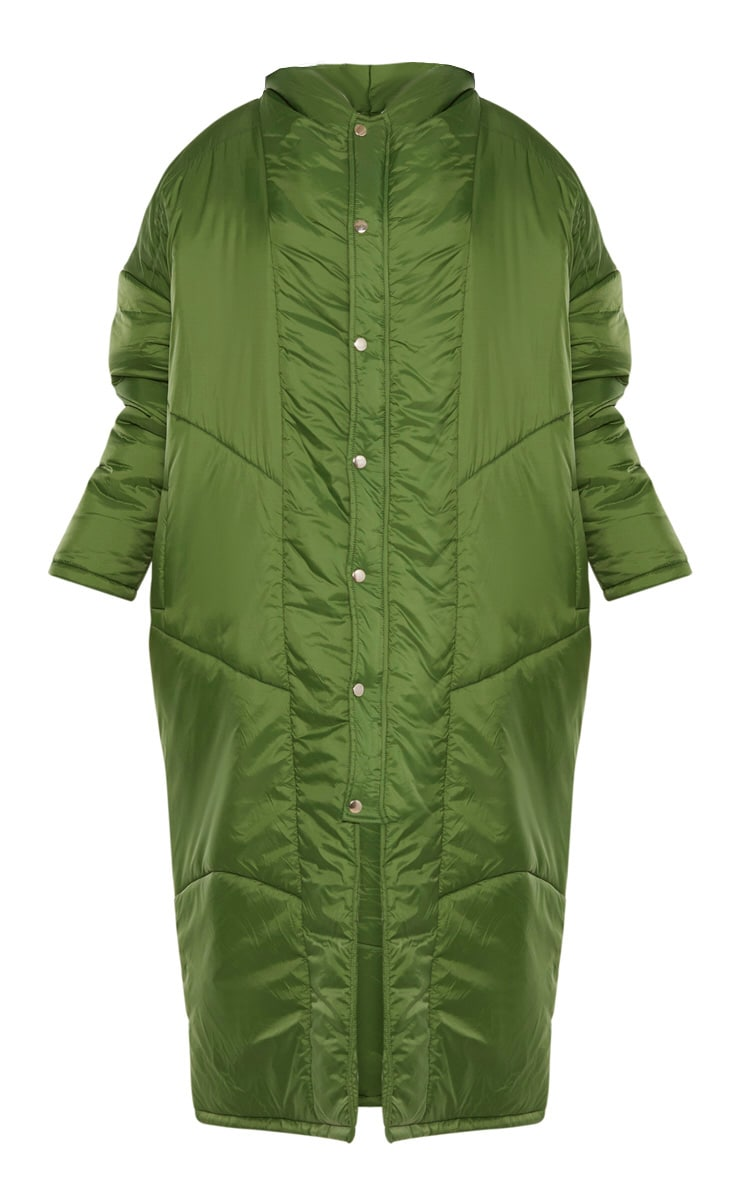 Khaki Green Midi Oversized Puffer Coat 3