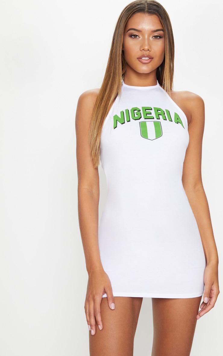 Nigeria Football Halterneck White Bodycon Dress 1