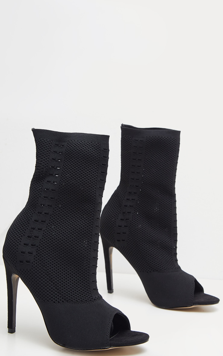 Donna Black Knitted Peep Toe Sock Boots 3