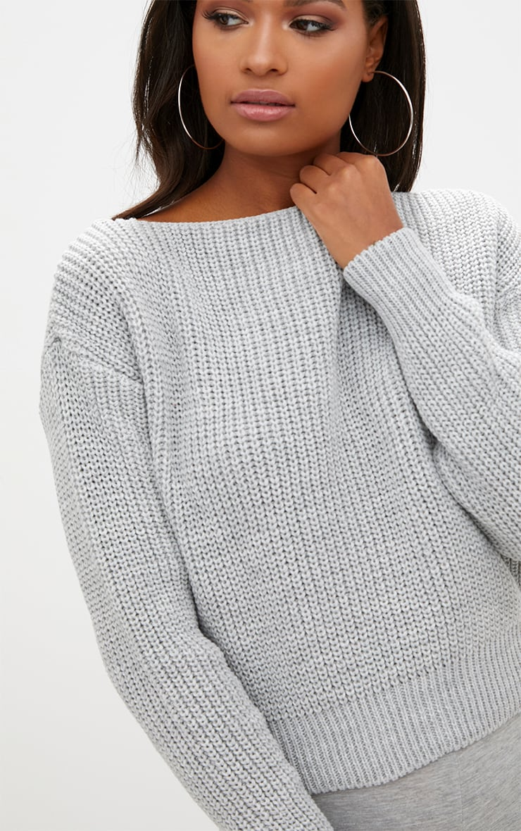 Christiana Grey Mixed Knit Slash Neck Crop Sweater 5