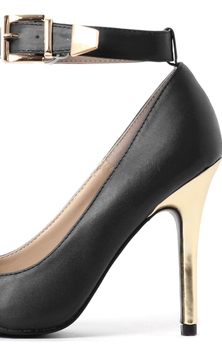 Jennie Black & Gold Ankle Strap Heels 4