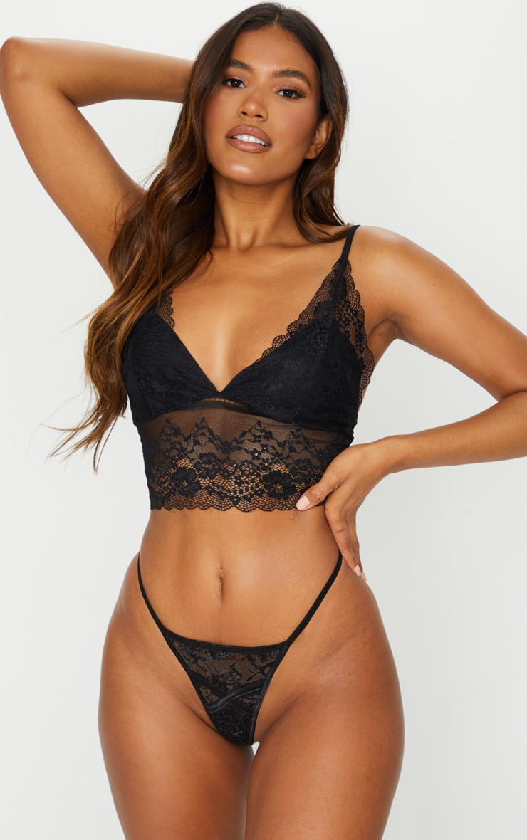 Black Lace Triangle Longline Bralet 3