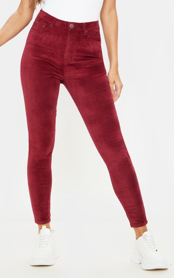 Burgundy Velvet Skinny Jeans  2