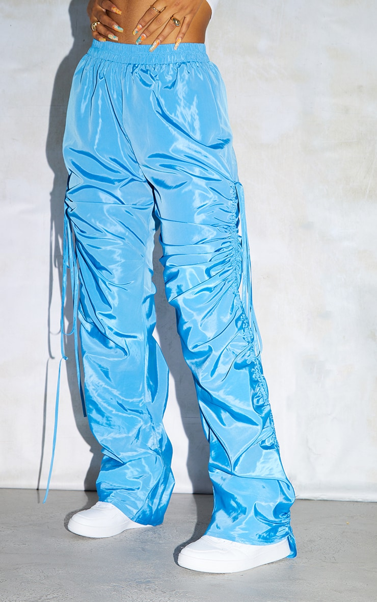 Sky Blue Shell Ruched Leg Joggers 2