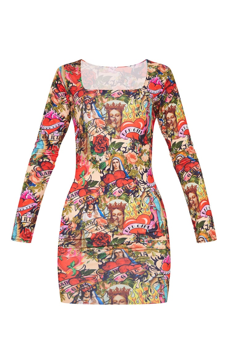Multi Tattoo Print Square Neck Bodycon Dress 4