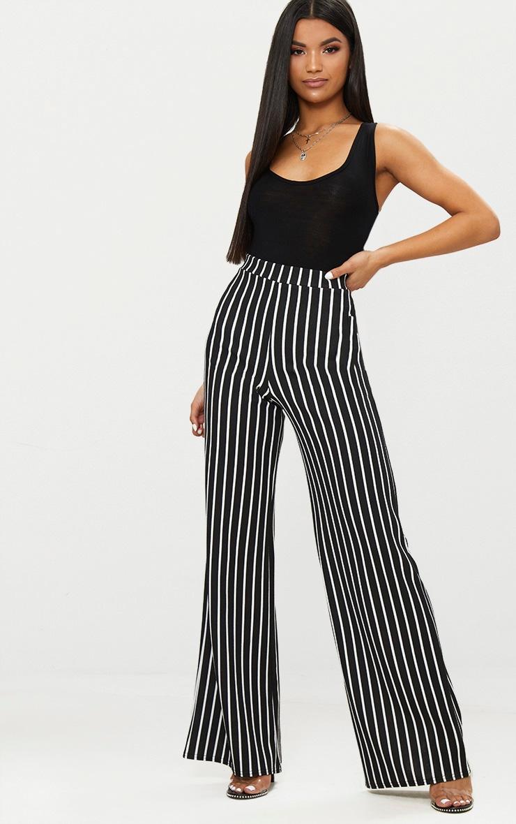 Black Crepe Pinstripe Wide Leg Trouser 1