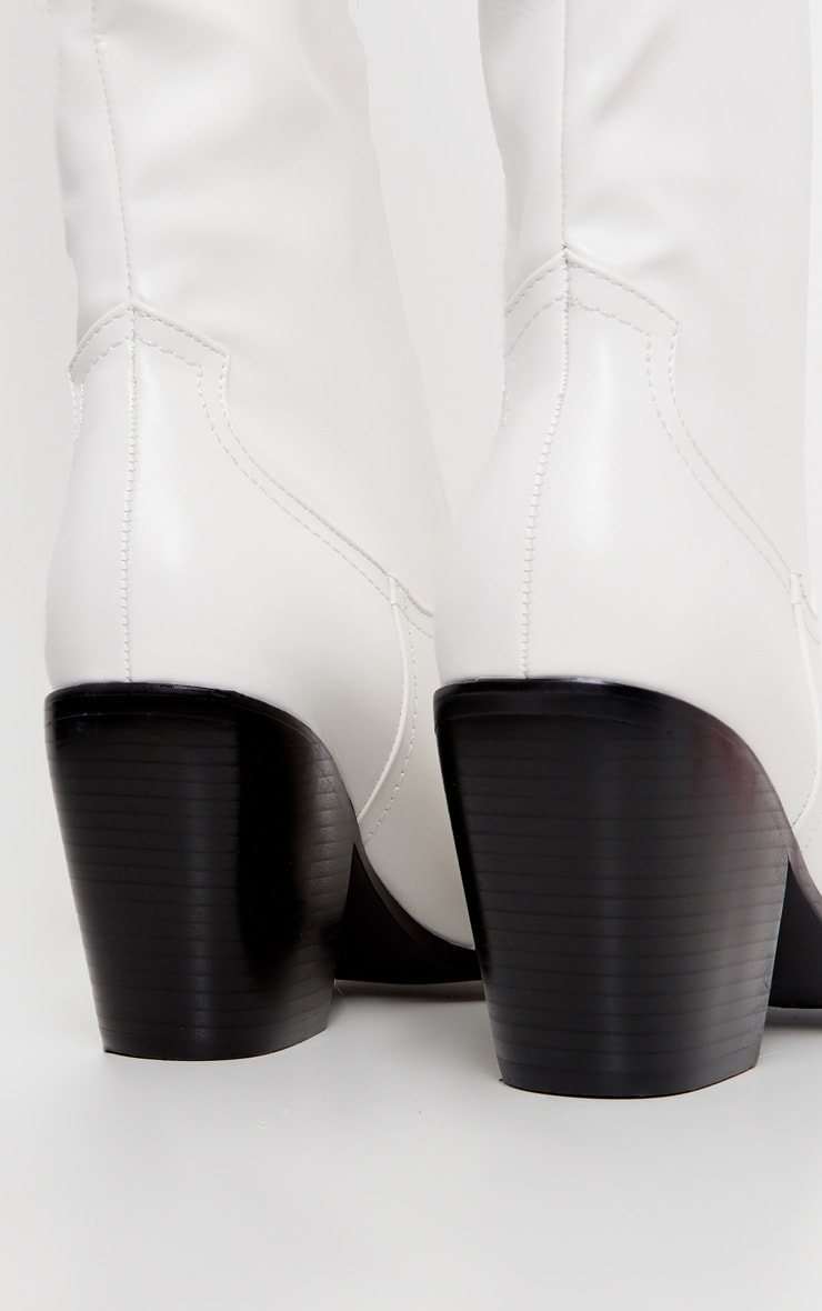 Bottes mi-mollet blanches style western  4