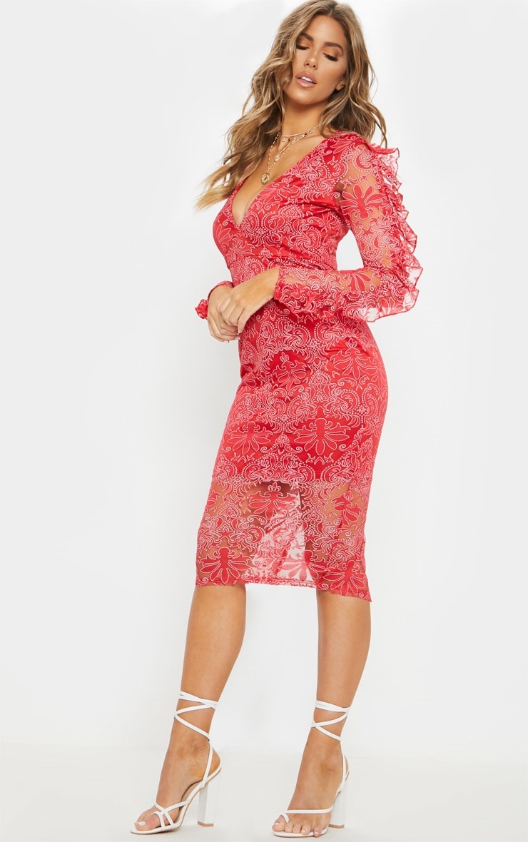 Red Lace Plunge Frill Sleeve Midi Dress 1