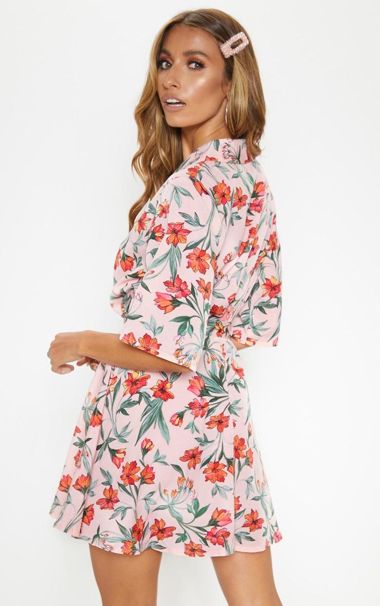 Robe rétro à imprimé floral rose pâle 2