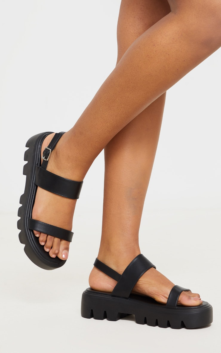 Black Chunky Sole Sandals 1