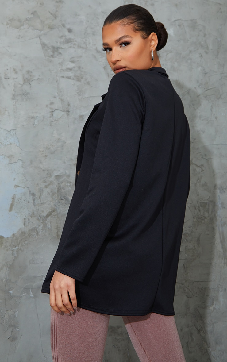Black Oversized Longline Boyfriend Blazer 2