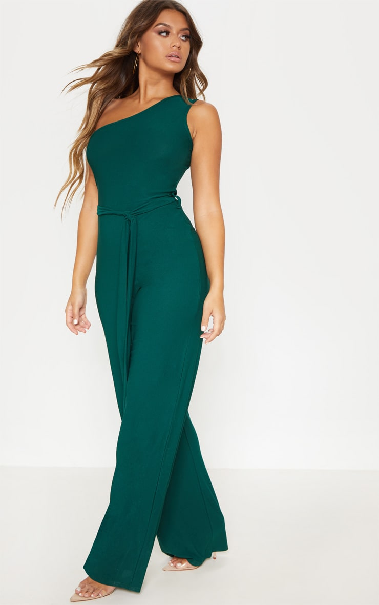 Emerald Green One Shoulder Tie Waist Jumpsuit 4