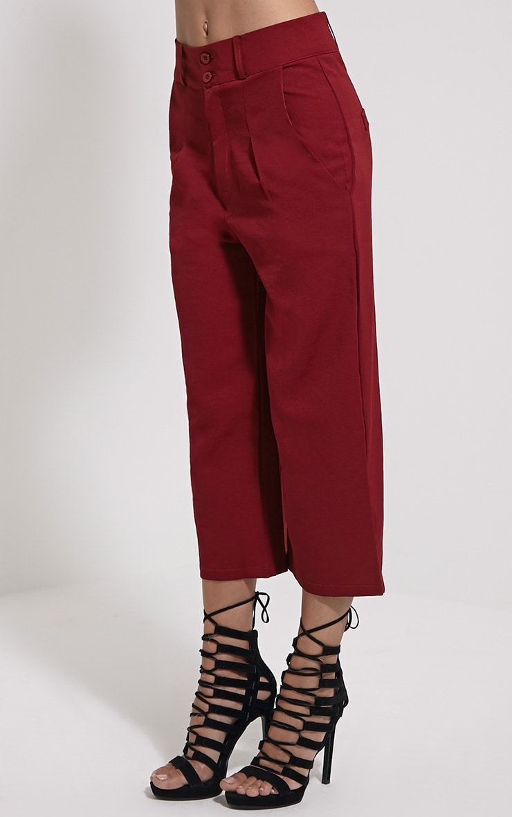 Harlow Burgundy High Waisted Culottes 3
