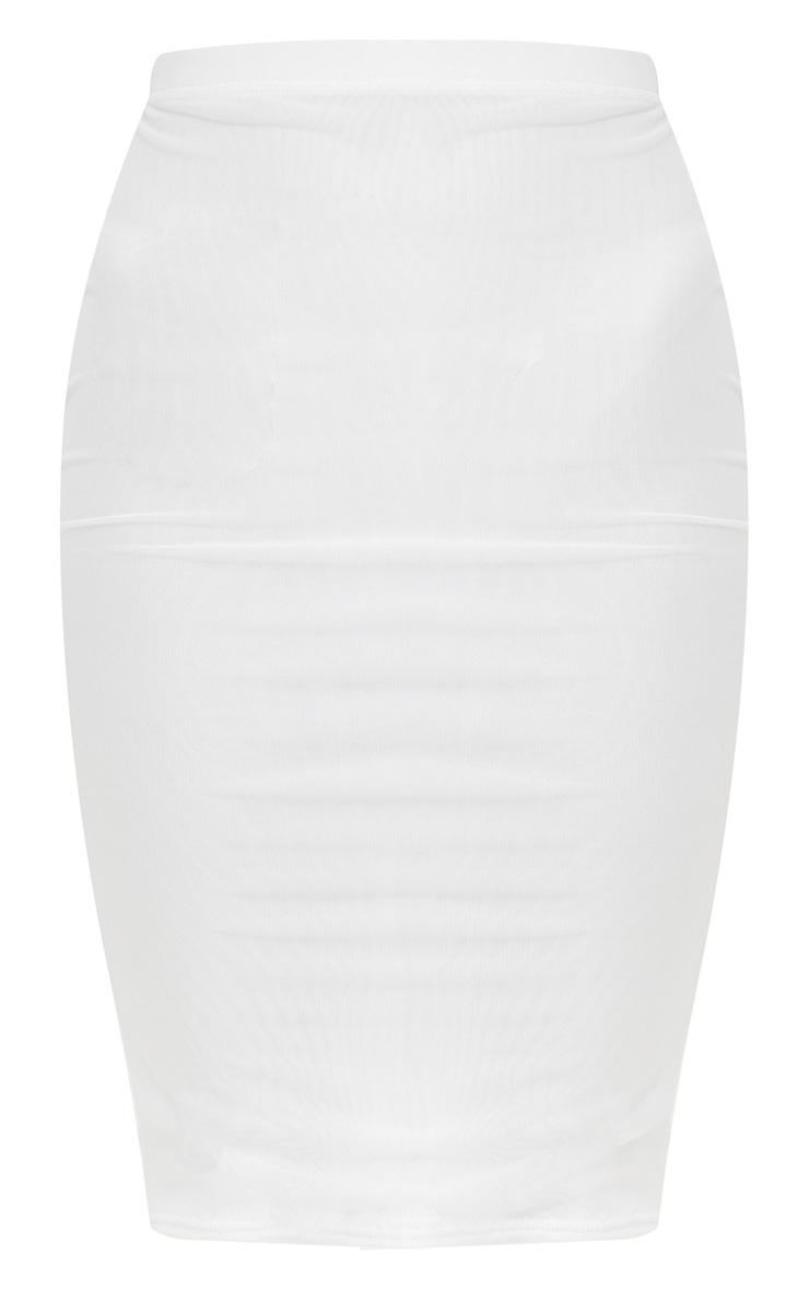 White Mesh Midi Skirt 4