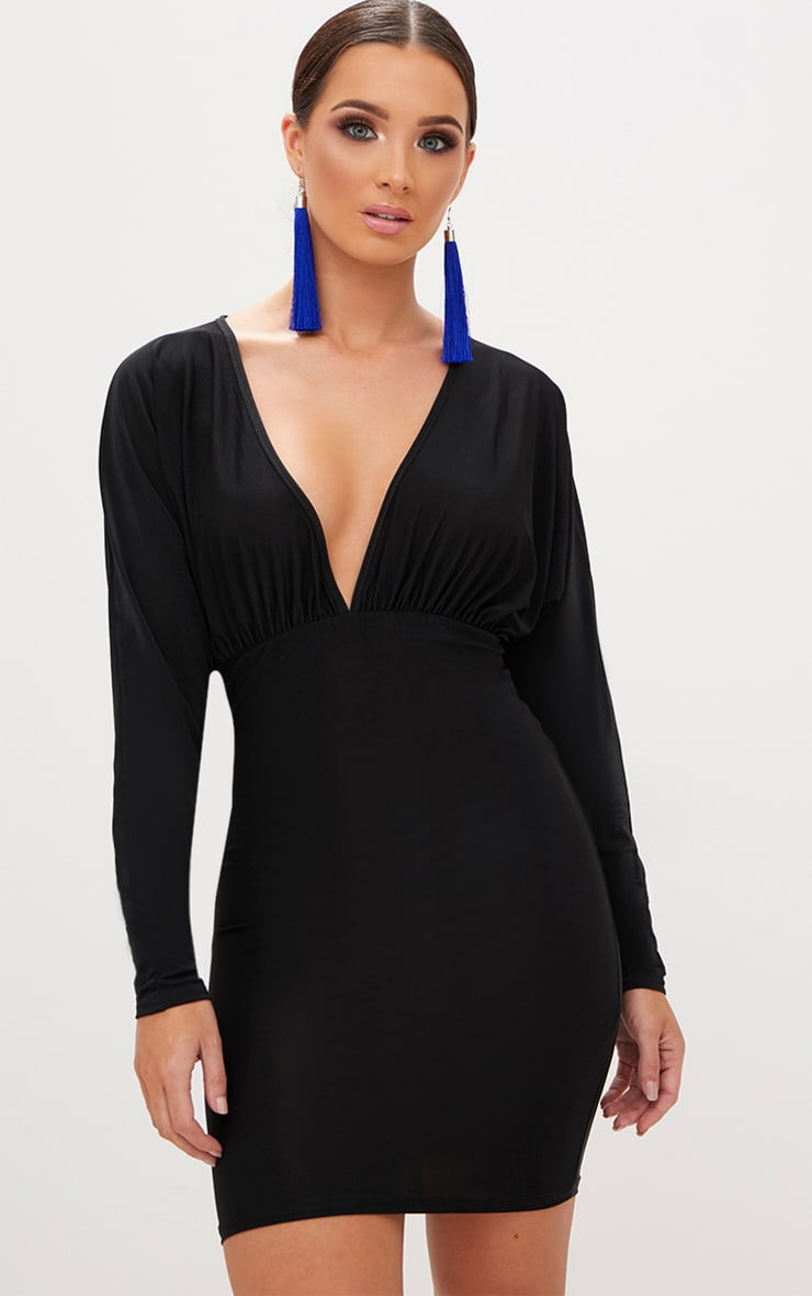 Black Plunge Batwing Bodycon Dress 1
