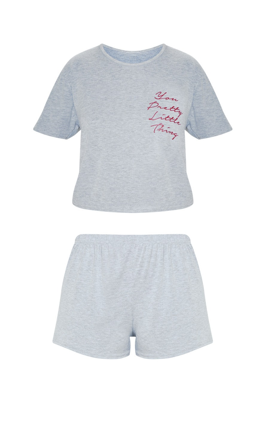 PRETTYLITTLETHING Grey Short PJ Set 3