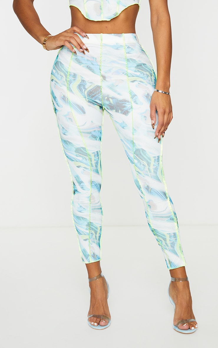 Shape White Marble Print Mesh Seam Detail Cropped Leggings 2