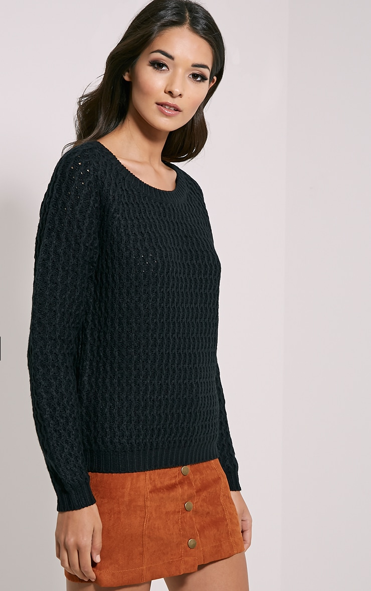 Jaylin Black Cable Knit Jumper 4
