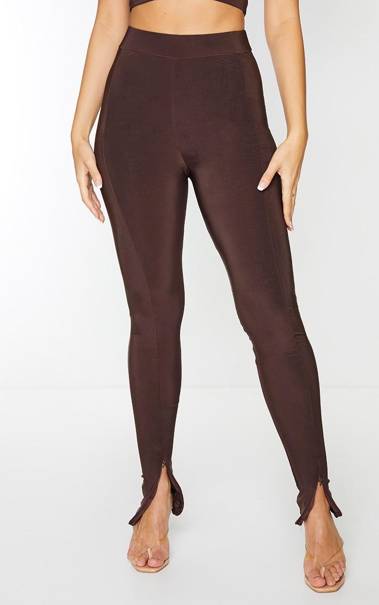 Chocolate Brown Slinky Seam Front Split Hem Leggings 2