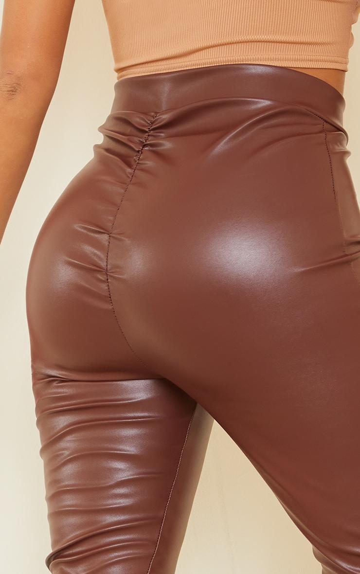 Shape Chocolate PU V Front Ruched Bum Split Hem Pants 4