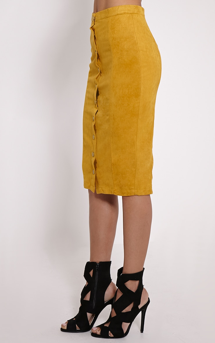 Meemee Mustard Button Front Suede Midi Skirt 3