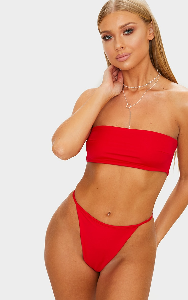 Red Mix & Match String Thong Bikini Bottom 1