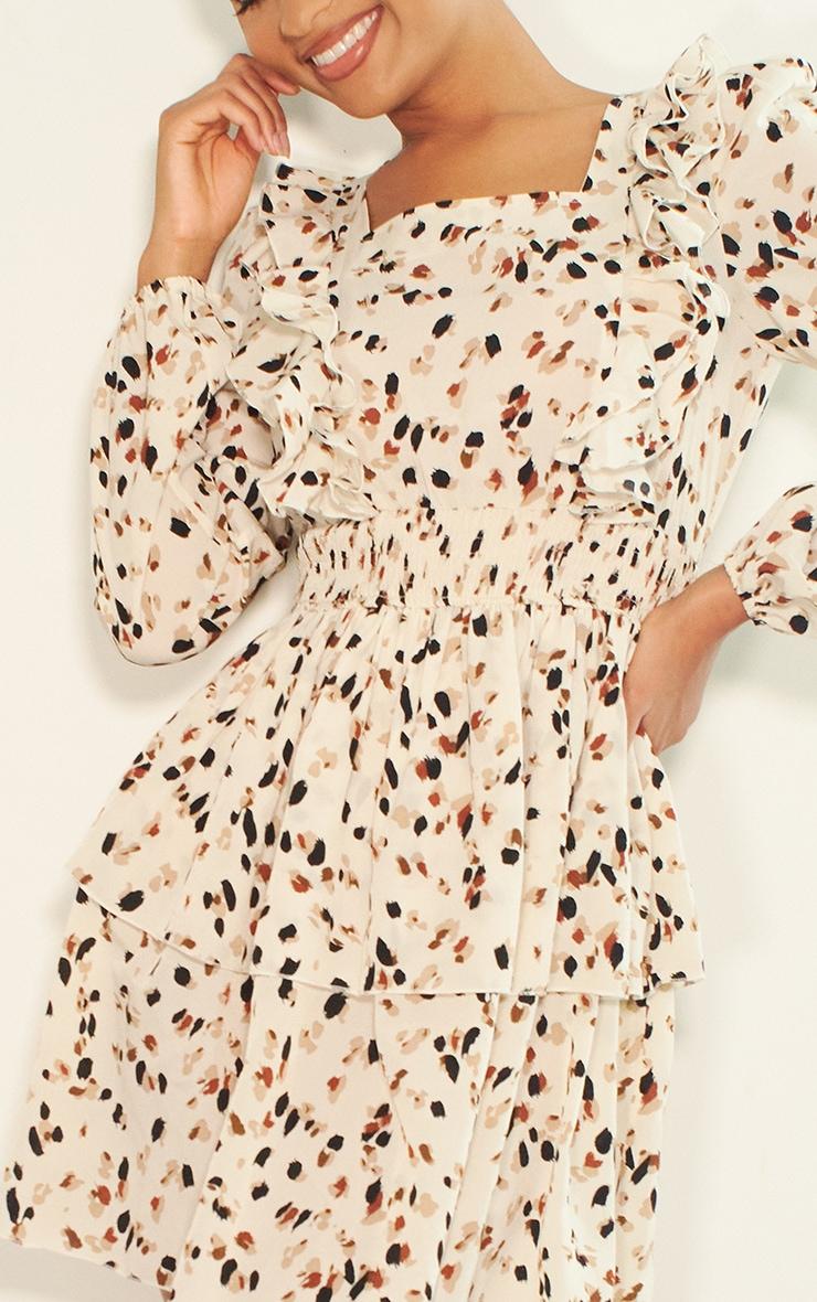 Cream Dalmatian Print Ruffle Detail Tiered Shift Dress 4